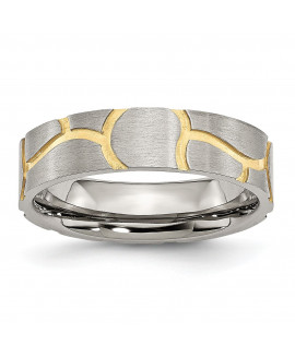 Stainless Steel Grooved Yellow IP-plated Ladies 6mm Brushed Band
