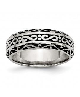 Stainless Steel 7mm Antiqued Band