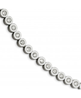 Stainless Steel with CZs 7.5in Bracelet