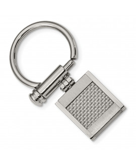 Stainless Steel Brushed and Polished Grey Carbon Fiber Inlay Key Ring