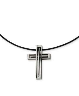 Stainless Steel Leather Cord Cross Necklace