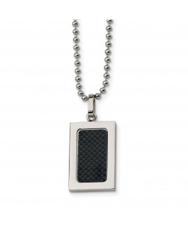 Stainless Steel Polished w/ Black Carbon Fiber Inlay 22in Necklace