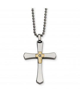 Stainless Steel 14k Accent w/ Diamond Cross Necklace
