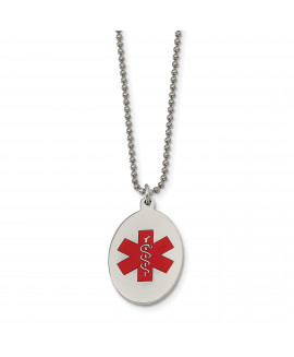 Stainless Steel Red Enamel Oval Medical Pendant 22in Necklace