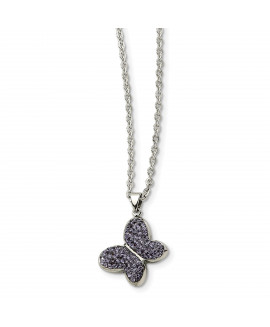 Stainless Steel Purple Crystal Butterfly Pendant Necklace
