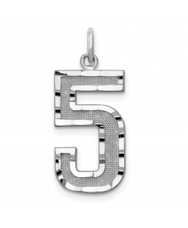 14kw Casted Large Diamond Cut Number 5 Charm