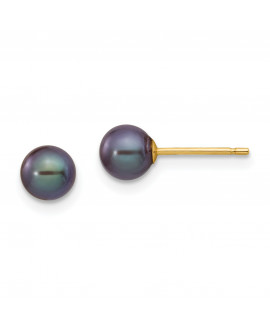 14k 5-6mm Black Round FW Cultured Pearl Stud Earrings
