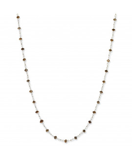 14k White Gold Coffee Brown Diamond Briolette Necklace