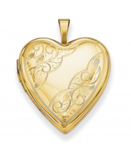 14K 20mm Side Swirl Heart Locket