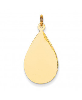 14k Plain .013 Gauge Engravable Raindrop Disc Charm