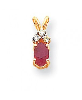 14k 6x4mm Oval Ruby AA Diamond pendant