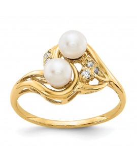 14k 4mm Pearl & Diamond Ring Mounting