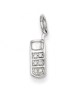 14k White Gold Diamond Cell Phone Charm