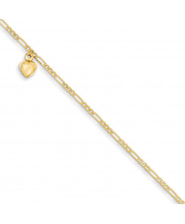 14k Figaro Link with Dangling Heart Anklet