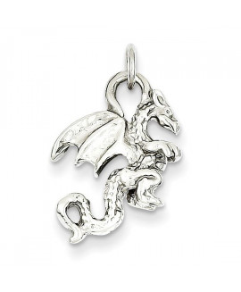 14k White Gold Solid Polished 3-Dimensional Dragon Charm