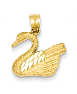 14K Diamond-cut Swan Pendant