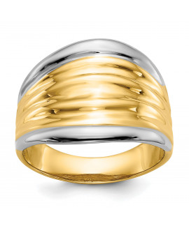 14k & Rhodium Fancy Dome Ring