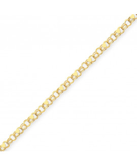 14k Double Link with Hearts Charm Bracelet
