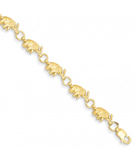 14k 8in Diamond-cut Small Elephants with Trunks Raised Bracelet