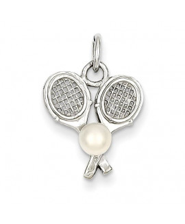 14k White Gold Tennis Racquets with Cultured Charm