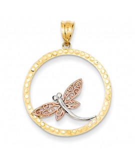 14K Yellow, Rose and Rhodium Dragonfly Pendant
