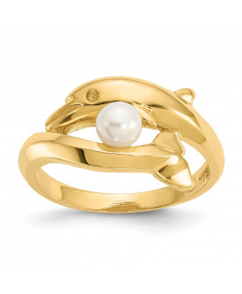14k Polished Dolphin w/FW Cultured Pearl Ring