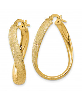 14k 4mm Laser Cut Wavy Oval Hoop Earrings