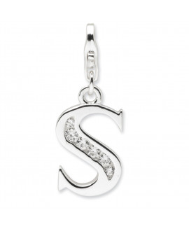 Sterling Silver CZ Letter S w/Lobster Clasp Charm