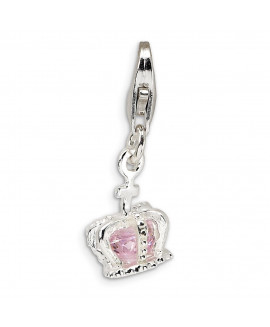 Sterling Silver 3-D CZ Crown w/Lobster Clasp Charm