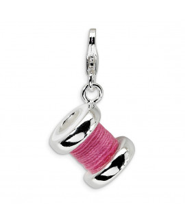 Sterling Silver 3-D Enameled Pink Spool of Thread w/Lobster Clasp Charm
