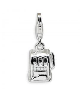 Sterling Silver 3-D Polished Slot Machine w/Lobster Clasp Charm