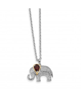 Sterling Silver & 14K Garnet and Diamond Elephant Necklace