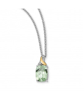 Sterling Silver & 14K Green Quartz & Diamond Necklace