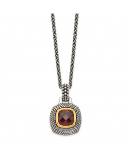 Sterling Silver Gold-tone Flash Gold-plated Garnet Necklace