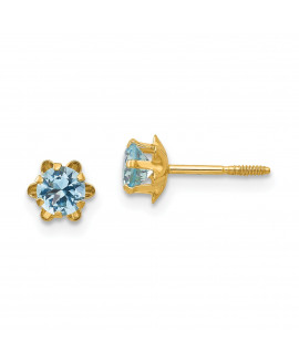 14k Madi K 4mm Synthetic (Mar) Screwback Earrings