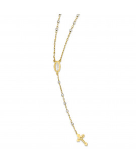 14k Two-tone Rosary Necklace