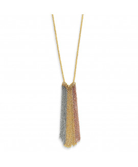 14k Tri-color Dangle Chain with 2in ext Necklace