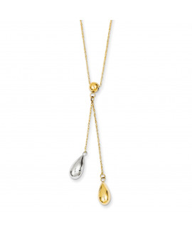 14k Yellow and White Gold Teardrop Puff Lariat Necklace