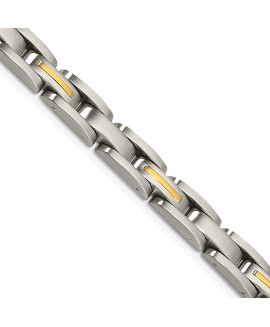 Stainless Steel 14k Yellow Inlay 8in Bracelet