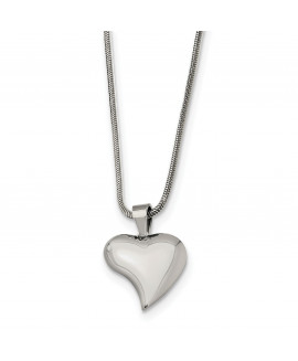 Stainless Steel Heart Pendant 18in Necklace