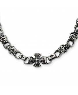 Stainless Steel Skull 24in Necklace