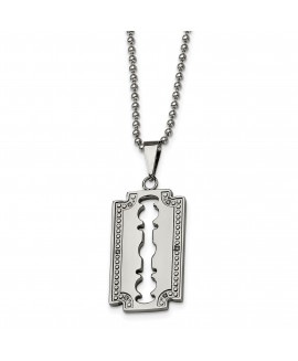 Stainless Steel 1/20ct. Diamond Razor Blade 24in Necklace