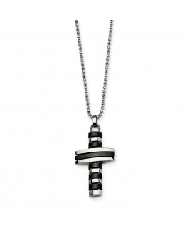 Stainless Steel Black IP-plated Cross Pendant Necklace