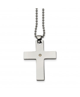 Stainless Steel 14k Accent w/ 2 pt. Diamond Cross Necklace