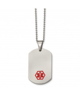 Stainless Steel Red Enamel Medical Necklace
