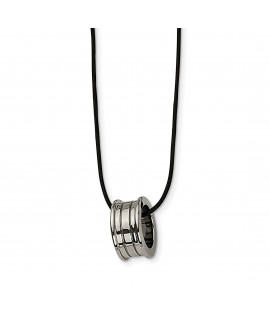 Tungsten Polished Leather Cord Necklace