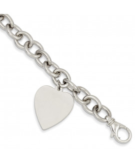 14k White Gold 8.5in Polished Engravable Link with Heart Charm Bracelet