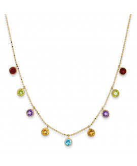 14K Multi-color Gemstone Necklace w/ 2in ext.