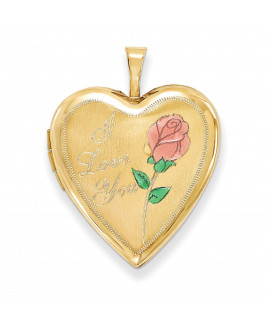 14K 20mm Enamel Rose I Love You Heart Locket