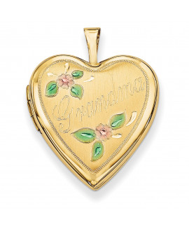 14K 20mm Enamel Flowers Grandma Heart Locket